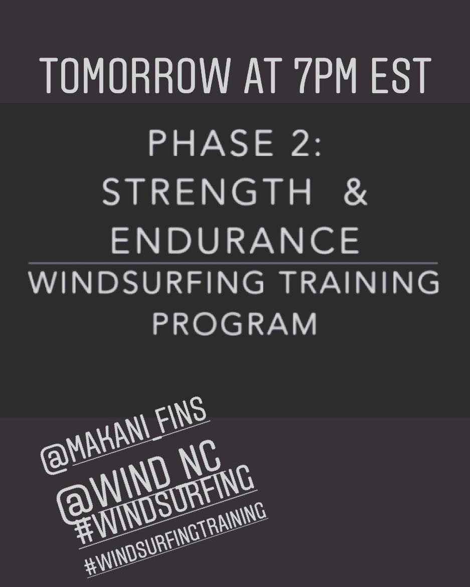 Next phase of the windsurfing training program will be